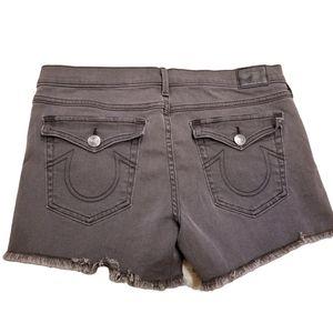 True Religion Raw Hem Jean Shorts